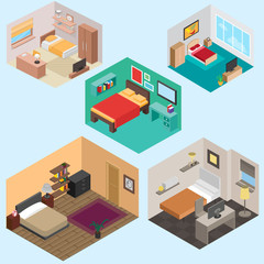 3d Isometric bedroom vector set for your ideas