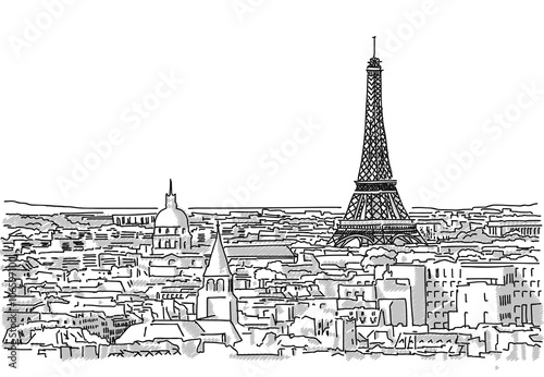About the roofs of paris handmade drawing with the eiffel tower in about the roofs of paris handmade drawing with the eiffel tower in background altavistaventures Choice Image