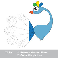 Peacock to be colored. Vector trace game.