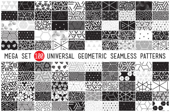 100 Universal different geometric seamless patterns