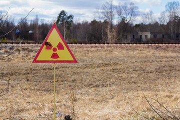 UKRAINE. Chernobyl Exclusion Zone. - 2016.03.19. Sign of radiation pollution near the Prypat