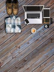 Top view office desk hero header for responsive webdesign. Letterhead and identity design template. 3d render