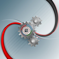 Abstract computer graphic for industry/technology with computer chip processor attached to a toothed wheel on a 3D shapes