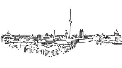 Über den Dächern von Berlin, schwarz-weiß Skizze, Umrisszeichnung