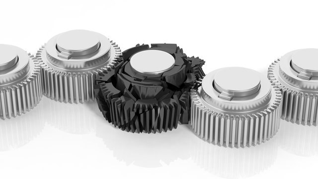 3D cogwheels with one broken, isolated on white background.