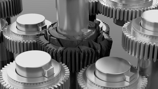 3D cogwheels with one broken closeup