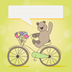 Funny little brown bear on Bicycle