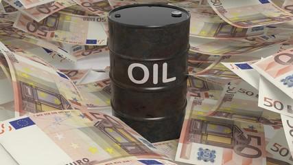 3D black oil drum set on euro banknotes pile