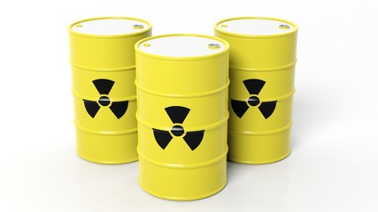 Yellow barrels for radioactive biohazard waste, isolated on white background