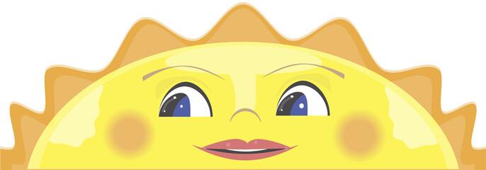 Peeking cartoon sun, smiling sun. Vector illustration.
