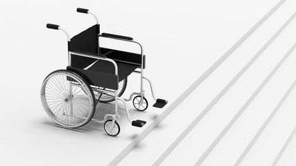 Black disability wheelchair, in front of stairs.
