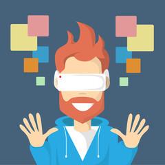 Man Virtual Reality Cyber Play Video Game Wear Digital Glasses