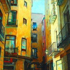landscape is in the gothic quarter of barcelona, painting by oil