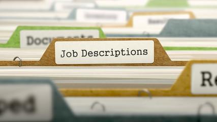 File Folder Labeled as Job Descriptions in Multicolor Archive. Closeup View. Blurred Image. 3D Render.