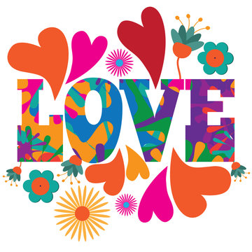 Sixties style mod pop art psychedelic colorful Love text design.