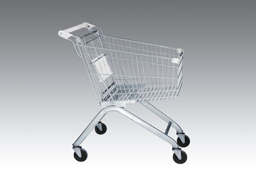 Shopping cart in marketing shop on background