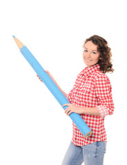 young pretty woman with giant blue pencil