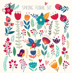 Beautiful vector collection with flowers and leaves. Spring art print with botanical elements