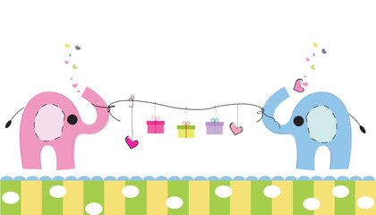 Cute elephants with gift box vector background. Happy birthday greeting card