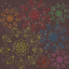 Multicolored floral ornament simple
