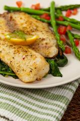 Fish with Roasted Asparagus. Selective focus.