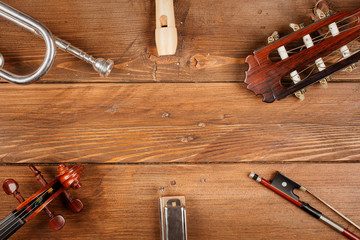 instruments in wood background