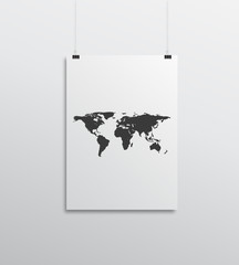 paper card on white wall with map