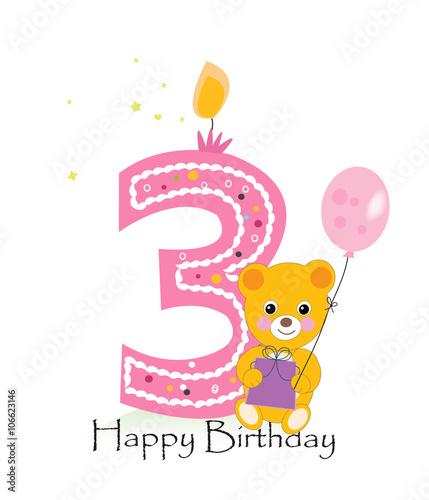 quot happy third birthday candle baby girl birthday greeting
