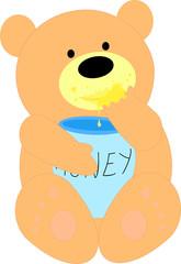 A bear cub and a barrel of honey cartoon