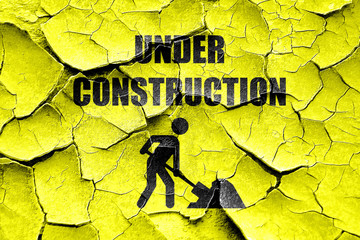 Grunge cracked Under construction sign