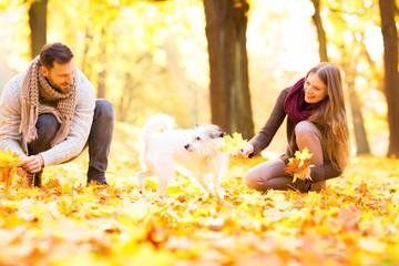 Pärchen mit dem Hund beim spielen
