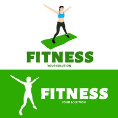 Vector logo fitness. The girl is engaged in fitness.