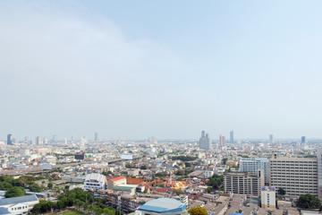 Bangkok view / View of capital Bangkok Thailand from abandoned building.