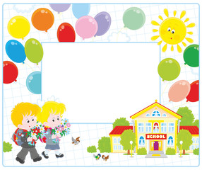 Horizontal vector frame border with a little schoolgirl and a schoolboy going to school with their schoolbags and flowers on September 1st