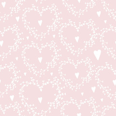 Vector hand drawn seamless pattern with wreathes and hearts, Good for Valentine's Day cards, wedding invitations, etc.
