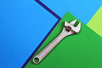Settings icon. Tools concept. Wrench, French key on colorfull background