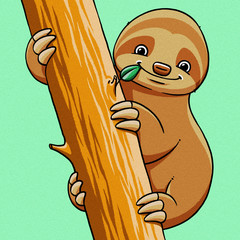 funny cartoon cute fat sloth illustration