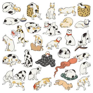 歌川国芳 其まま地口猫飼好五十三疋のイメージイラスト