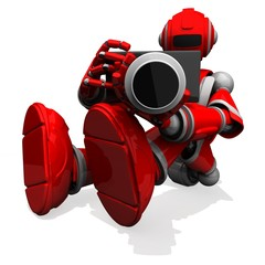 3D Photographer Robot Red Color With Camera Phone, Taking a Picture