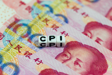 White cube blocks with the text, CPI, on Chinese currency