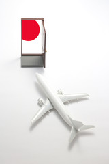 Trip by airplane to Japan.