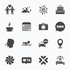 Hotel, apartment service icons. Swimming pool.