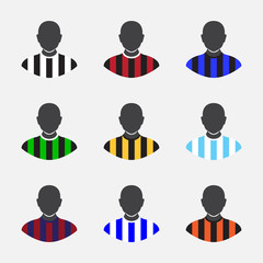 Collection of various soccer jerseys.