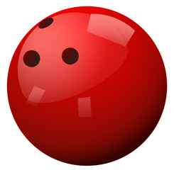 Red bowling ball on white background