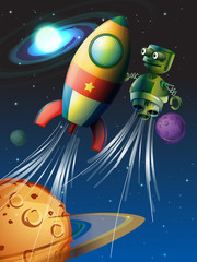 Rocket and robot flying in the space