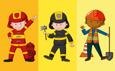 Fire fighters and construction worker