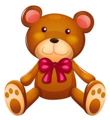 Keuken foto achterwand Beren Cute teddy bear with red ribbon