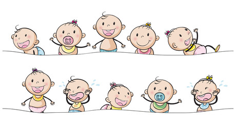 Baby boys and girls with facial expressions