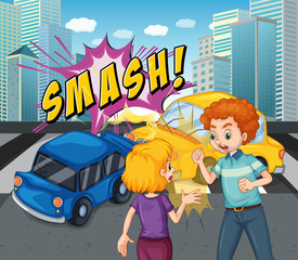Accident scene with car crash