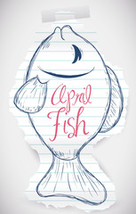 Sweet Fish Sketch for April Fools' Prank, Vector Illustration